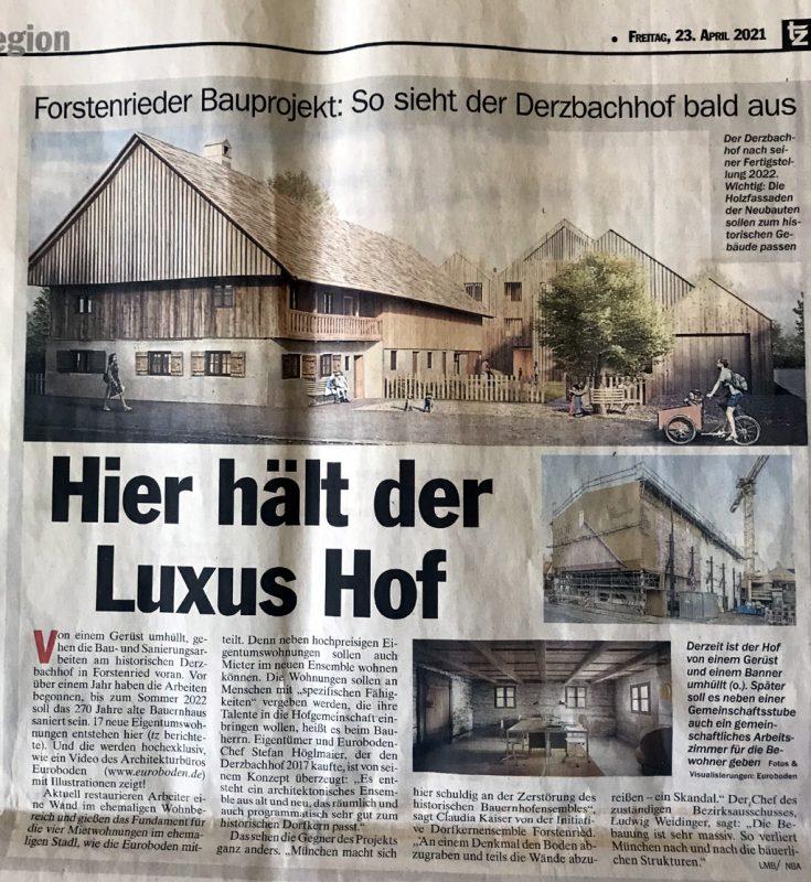 TZ vom 23. April 2021: Derzbachhof – Hier hält der Luxus Hof